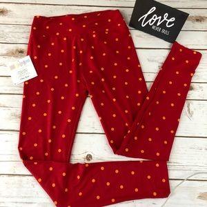 LuLaRoe Red with Orange Polka Dot Leggings Size OS